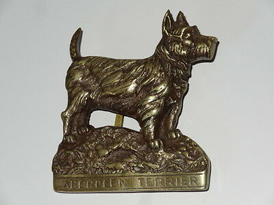 Antique Brass Door Knocker Aberdeen Terrier Dog Architectural Vintage