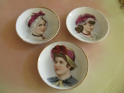 Set 3 Antique Bone China Portrait Butter Pats, Utterly Charming, Unmarked!