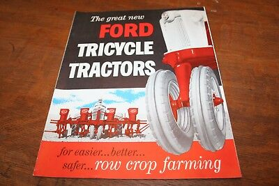 Ford New Tricycle Tractors for Row Crop Farming 740 950 960 Brochure 1955!