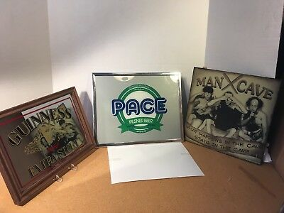 Guiness Mirror, Pace Beer Sign and Three Stooges Man Cave Sign