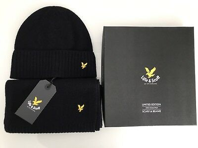 Lyle & Scott Wool Scarf and Beanie / Hat Gift Box Set In Navy BNIB