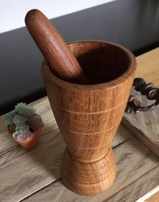 Vintage Teak Mortar & Pestle Hand turned Wood Set