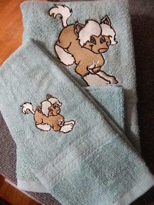 Chinese Crested Embroidered  Bath Towel set 3 pc. Bath, hand, wash cloth. mint