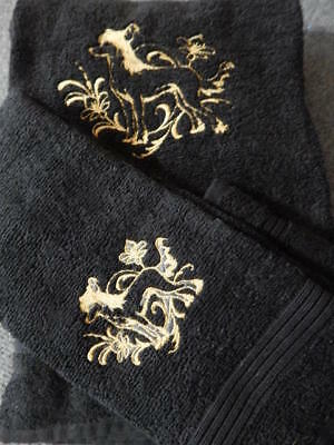 Chinese Crested Embroidered  Bath Towel set 3 pc. Bath,hand,wash cloth. Black