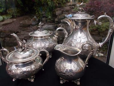 Superb 4 Piece Silver Plate Rococo Style Tea Coffee Set J Turton Sheffield 1880S
