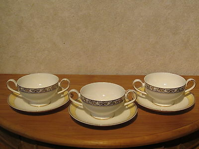 VILLEROY & BOCH *NEW* Villa Cannes Set 3 Tasses à bouillon + soucoupes V&B