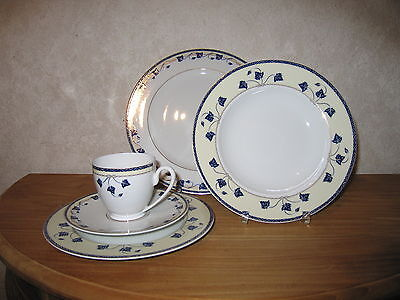 GUY DEGRENNE *NEW* Corynthe Bleu Set 3 Assiettes + 2 Tasses à café