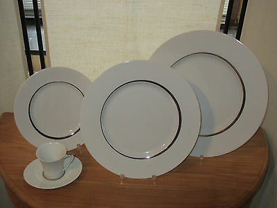 GUY DEGRENNE *NEW* Boréal Galon Rond Set 3 Assiettes + 1 Tasse café Plates + Cup