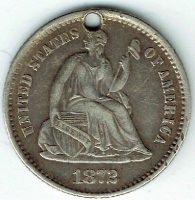 United States, Silver (.900), Seated Liberty Half Dime 1872 S, VF (Holed), WA112