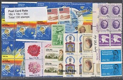 US Postage - 68 Post Card water-activated (29c+6c) stamps Below Face, Unused