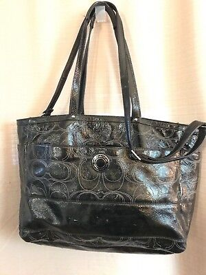 Coach XL Sig Black Patent Leather Diaper Baby Multifunction Weekend Tote Bag