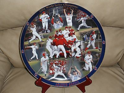 2002 World Series Champions Collector's Plate Danbury Mint ANAHEIM ANGELS STAND