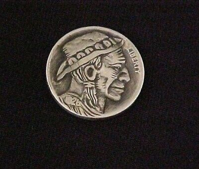 Old Weathered Concho Cowboy Carved folk art coin Hobo Nickel 1304