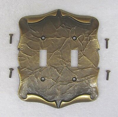 Vintage AMEROCK CARRIAGE HOUSE DOUBLE SWITCH Plate Cover BRASS SCROLL Electrical