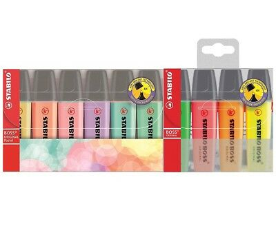 STABILO BOSS Highlight Wallet Pens 6 Pastel + 4 Orginal Chisel Tip 2.5mm
