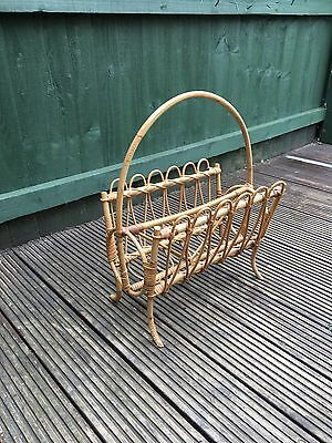70s Vintage Wicker / Cane Magazine Rack