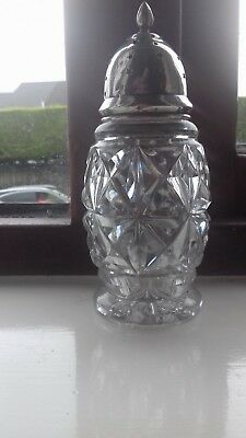 Vintage Solid Silver Top / Heavy Cut Glass Sugar Sifter