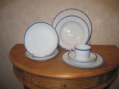 GUY DEGRENNE *NEW* FOLIA BLEU Set 2 Assiettes creuses calotte 19cm Blue Plates