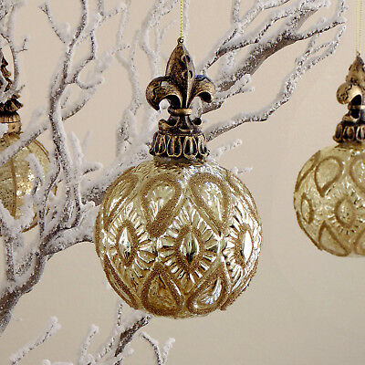 Decoro Pallina Albero di Natale Vintage Shabby Chic On Top Collection Seconda Va
