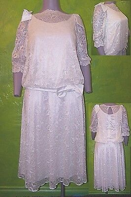 VINTAGE VERY 80s DROP WAIST WEDDING DRESS LACE & BOWS DIANAESQUE 3/4 SLEEVE UK16