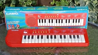 Casio Vintage Mini Sa-2 Keyboard - Tested & Working - Red - Tested - Very Rare