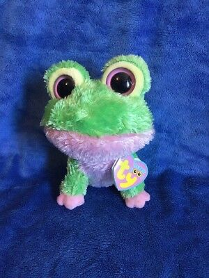 Ty Beanie Boos Kiwi The Frog Pink Green TAGGED 6""