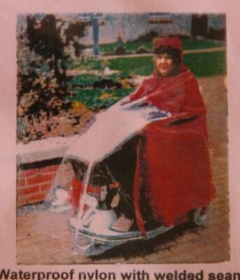 """Mobility Scooter Cape with window by """"Glanmor"""". Keeps you dry on a rainy day out"""