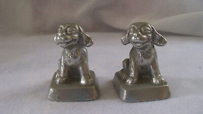 Two Vintage Littco Cast Metal Dog Paperweight Littlestown Foundry