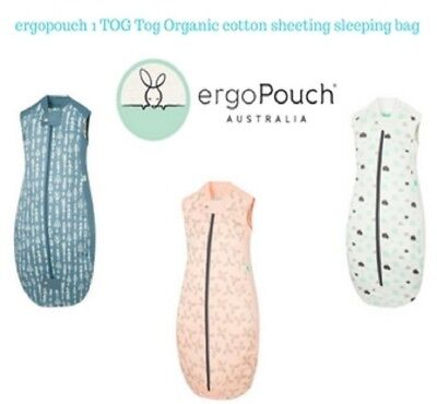 ergoPouch 1 TOG Organic Cotton Sheeting Sleeping Bag Clouds - Petal - Midnight A