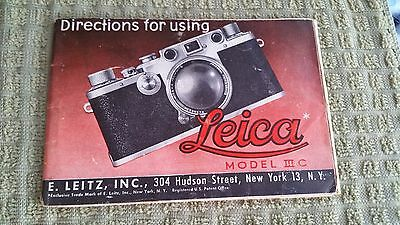 Leica Model IIIC camera use booklet complete 52 pgs.