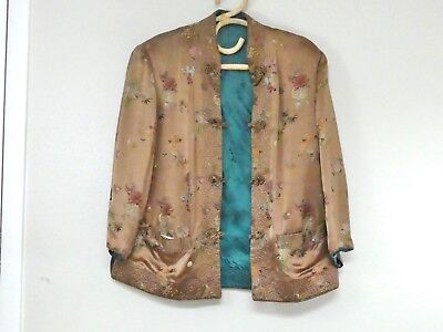 Vintage Asian Silk Reversible Brocade Jacket Peony Floral Embroidered Red Silver