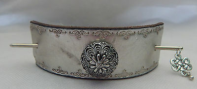 Silver Leather Celtic Knot Barrette w/ Hair Stick New Accessories Fasion
