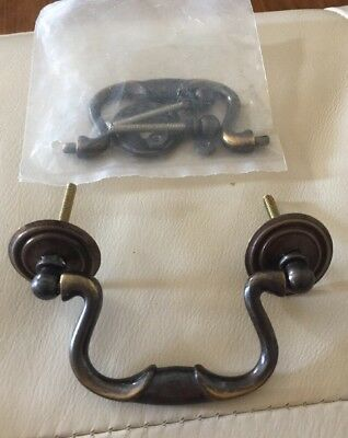 """2 Brass Chippendale Bail Handle Drawer Furniture Pulls 3 1/2"""" H Vintage"""