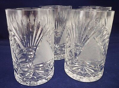 "Set of 4 Cut Crystal/Glass 4"" Tumbler/Mixer Glasses ex quality and condition."