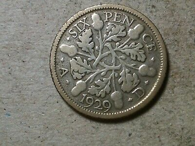 Great Britain 6 pence sixpence  1929  KGV Wedding coin gift  silver