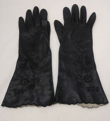Antique Vintage Pair Black Gloves Small Size 7 Floral Cut Out Kid Leather