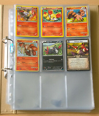 About 35 Trading Card Plastic Binder Sheets in folder plus 6 Cards incl. Pokemon