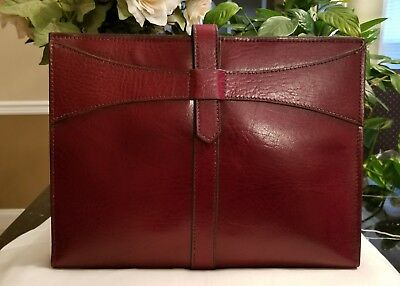Burgandy red leather business portfolio