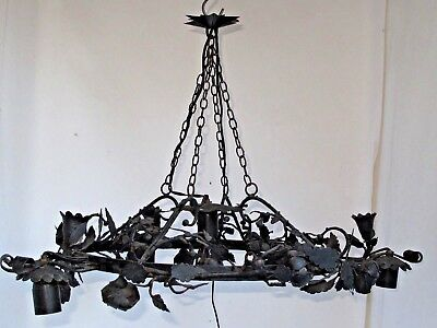Antique French Wrought Iron Chandelier with  Roses c.1920
