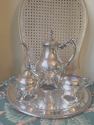 FBRogers silverplate 3 piece coffee/tea service, #2391,detailed, handled tray