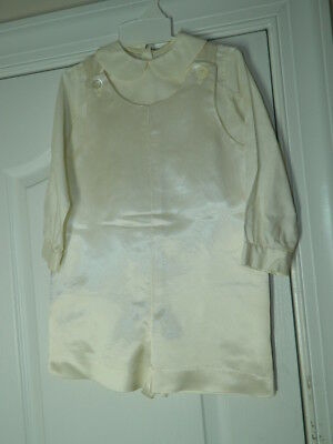 Vintage Boys White Satin Christening Baptism Romper w/Long Sleeve Shirt