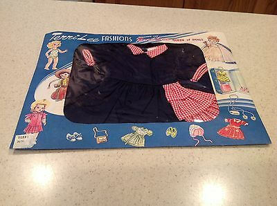"Vintage Terri Lee Doll Clothes Will Fit 16""Doll BNIP 1950's Blue Dress W/Gingham"