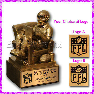 "Personalized Custom Engraved 6"" Gold Fantasy Football Man in Chair Trophy"