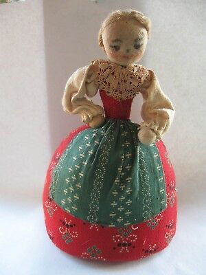 Antique Fabric Pin Cushion Lady German? Dress W/ Lace Collar Painted Face