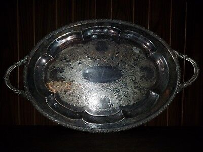 Large Antique Silverplate Serving Tray Very Heavy Scrap Silver or Restoration