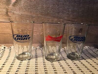 Budweiser and Bud Light Beer glasses Set of Three