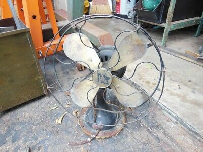 Robbins & Myers Brass Blade 3 Speed Fan Vintage Antique as is for restore See