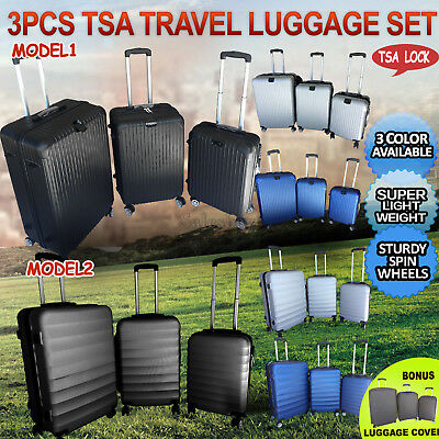 3pc TSA Travel Luggage Set Lightweight Trolley Suitcase Lock Carry Bag Hard Case
