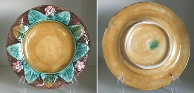 Pretty/Old Majolica Floral and Leaf Plate, Very Nice