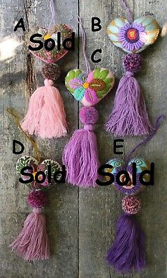Hand Embroidered Heart Tassel Pom Pom - SOLD SEPERATELY - Mayan Mexican Folk Art